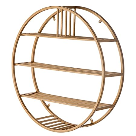 Hj Round Wall Shelf Metal Iron For Bar Living Room Hanging Cube Bedroom