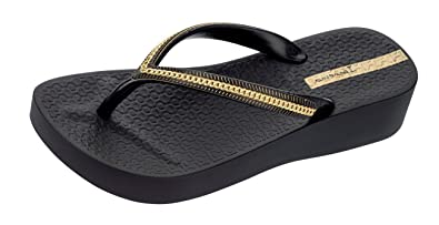 e85f1aafe Ipanema Mesh Wedge Ladies Flip Flops Black  Amazon.co.uk  Shoes   Bags