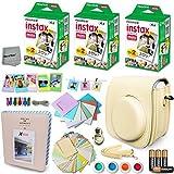Xtech BEIGE Accessories Kit for Fuji FujiFilm Instax Mini 8 Cameras includes: 60 Instax Film + Custom Fitted Case for Fuji Mini 8 Cameras + Assorted Stickers / Paper Frames + Photo Album +MORE
