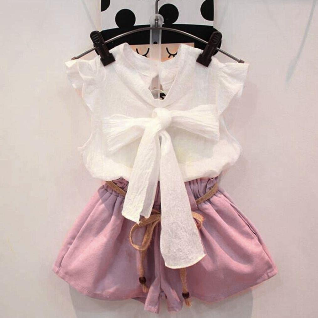 Skirts Set Clothing Set 2-7 T Lurryly 2Pcs Toddler Baby Girls Solid Ruffles Tops
