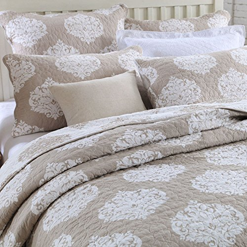 Quilt Set King, Cotton World Li Premium 3 Piece Oversized Coverlet Set as Bedspread Bed Cover Reversible Luxury Light Weight - Wrinkle & Fade Resistant-King/California King by Cotton World Li
