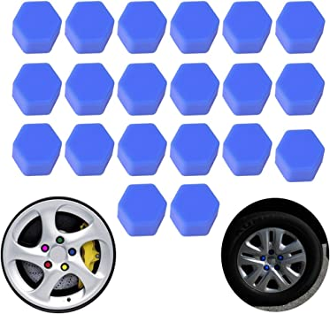 20Pcs 17mm Purple Luminous Car Wheel Lug Nut Bolt Hub Screw Cover Protective Cap