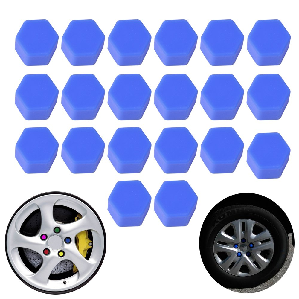 20pcs//set Auto Car Silicone Wheel Lug Nut Bolt Cover Tyre Dust Screw Cap Night Luminous Wheel Nut Protective Cap Wheel Screw Size 17//19//21mm 19mm, Blue