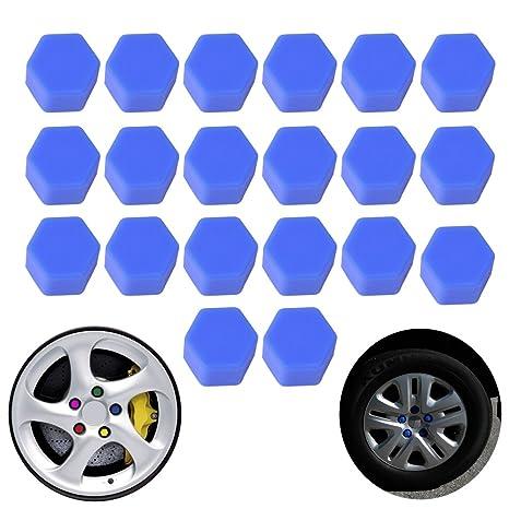 19mm Car Truck Wheel Tyre Centre Hub Screw Lug Bolt Red Rubber Caps Combo 20pcs