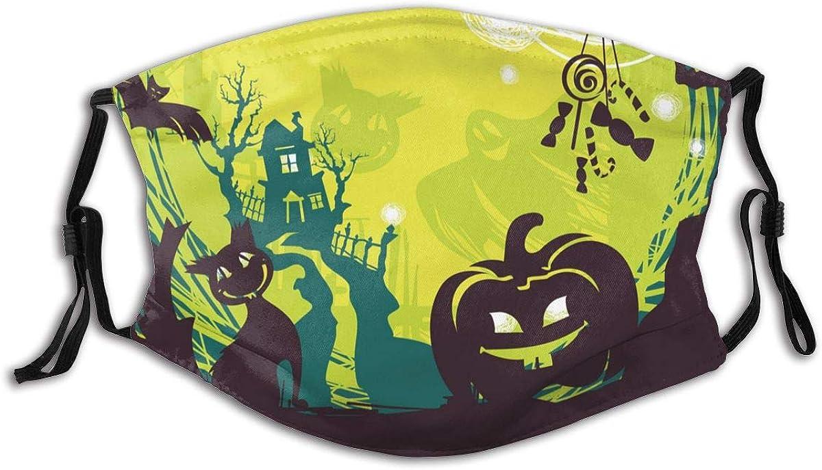 Halloween Face Mask With 2 Pcs Filters Reusable Face Bandanas Balaclava Washable Breathable Cloth Fabric Masks