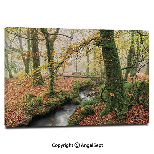 Modern Gallery Wrapped Misty Autumn Woodland and Stream at Golitha Falls on Bodmin Moor in Cornwall Decorative Pictures on Canvas Wall Art Ready to Hang for Living Room Kitchen Home Decor,12