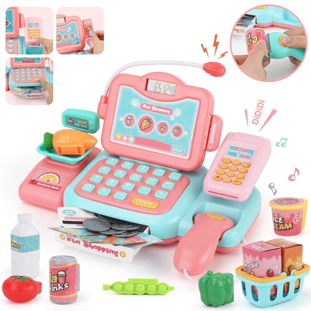 JoyGrow Smart Cash Register Pretend Play Supermarket Shop Toys with Calculator ,Working Scanner,Credit Card ,Play Food ,Money and More Educational Learning Toys (Pink)