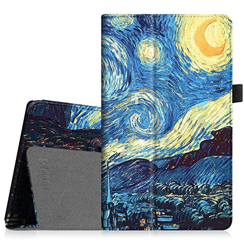 Fintie Folio Case for Amazon Fire HD 8 (Previous Generation - 6th) 2016 Release - Slim Fit Premium Vegan Leather Standing Protective Cover with Auto Wake/Sleep, Starry Night
