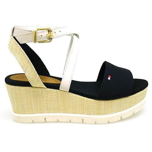 Mujer Cuñas 1d Tommy Venice Negro Hilfiger Plataformas Zapatos WrdBeCxo