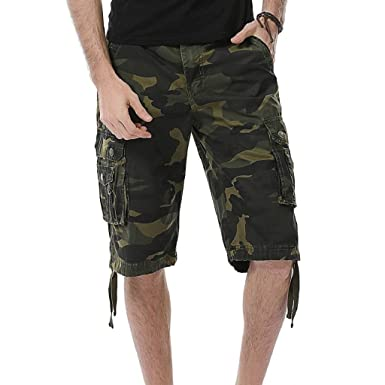 9ad3229260 Photno Men Cargo Shorts Big and Tall Camouflage Loose Fit Athletic Twill  Straight Multi-Pocket