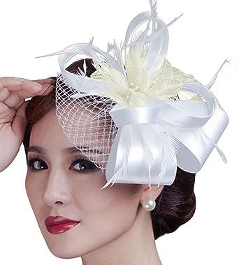 2cfc0ed2b0a Fascigirl Netting Veil Fascinator Hats Tea Party Wedding Cocktail Hair Clip  Hat  Amazon.co.uk  Clothing