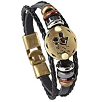 Doitory Men Punk Alloy Leather Bracelet Constellation Braided Rope Bracelet Bangle Wristband