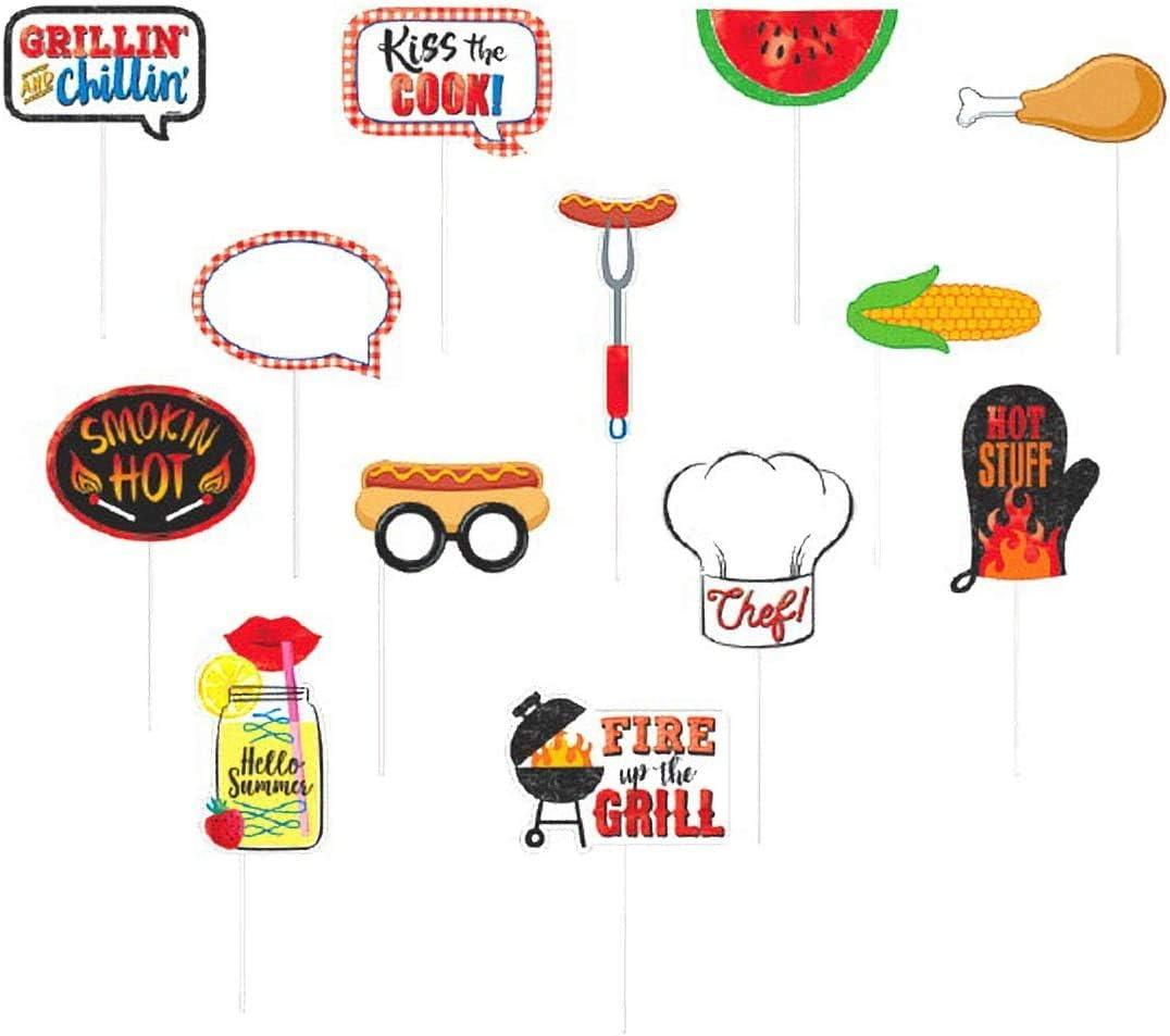 "13 Pcs BBQ Theme Photo Props Includes""Grillin' And Chillin'"",""Smoking Hot"",""Kiss The Cook!"", Watermelon, Corn, Chicken Leg, Hotdogs"