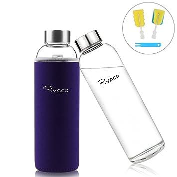 Botella de Agua Cristal 550ml, Ryaco Botella de Agua Reutilizable 18 oz, Sin BPA