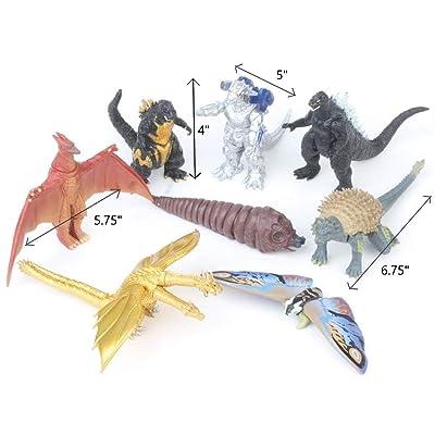 "Godzilla Playset: 8 Piece Toy Set (4"" - 6.75""): Fire Rodan, Mechagodzilla, Ghidorah, Larva Mothra, Mothra, & Anguirus.: Toys & Games"
