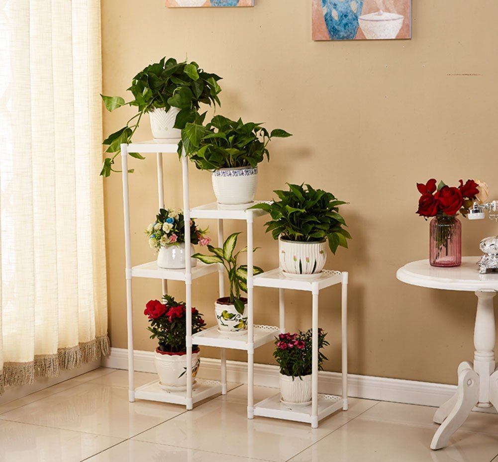 CSQ White Flower Stand, Creative 7 Tables Plant Stand Floor Shelf Living Room Bedroom Balcony Flower Pot Ornaments 8029100CM (Color : White) by Flowers and friends (Image #4)