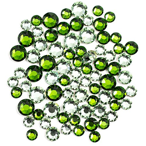 Swarovski - Create Your Style Hotfix Mix Chrysolite and Fern Green 3 packages of 80 Piece (240 Total Crystals)