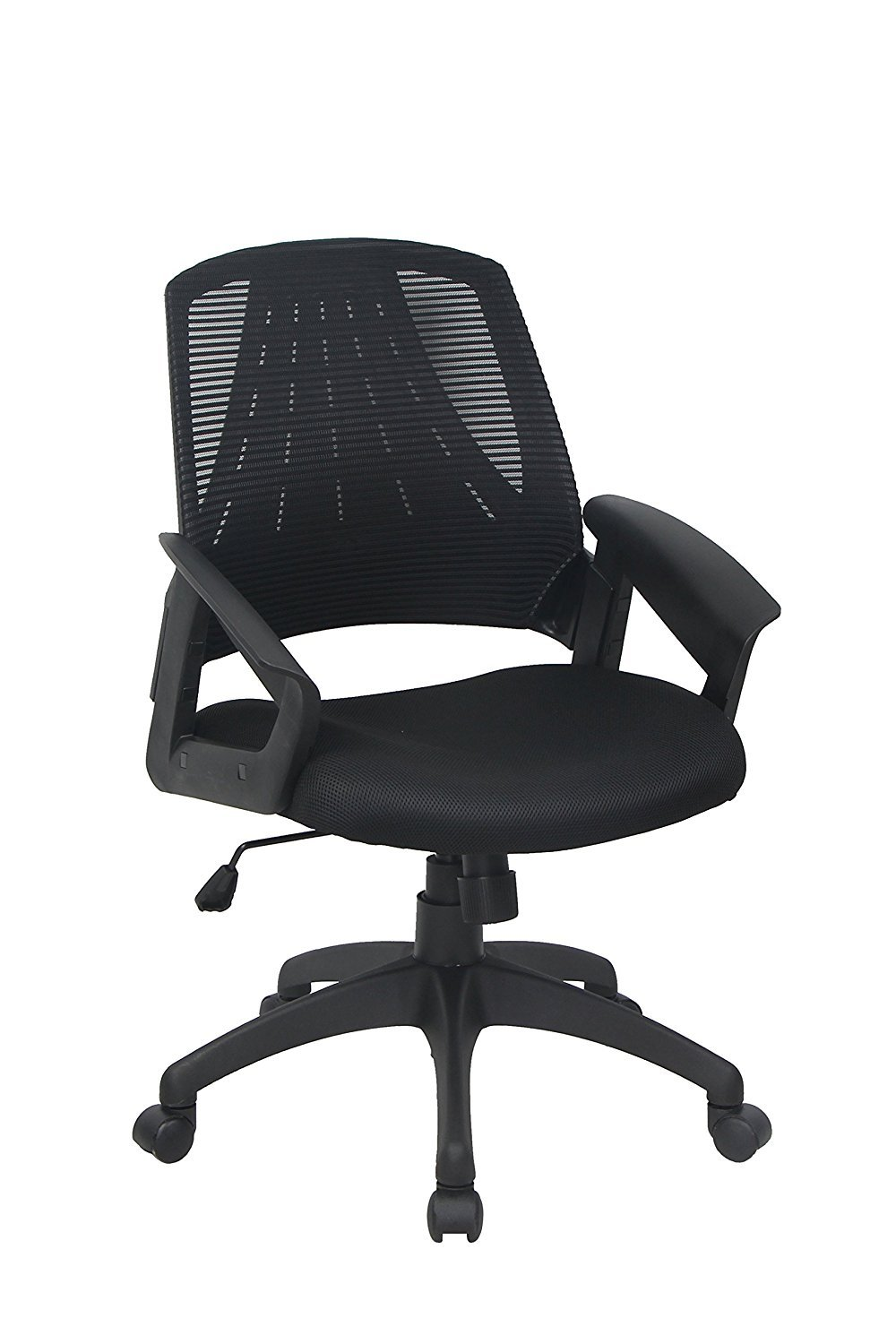 BONUM Adjustable Desk Office Chair Mid-Back Mesh Fabric Swivel Home Task Chair with Padded Seat and Armrest - Black (Black)