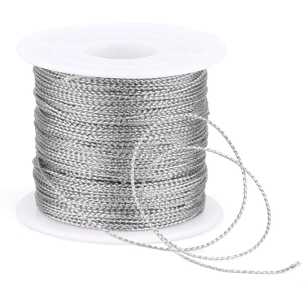 Spool Red String Metallic Cord Tinsel String Craft Making Cord for Wrapping,Hair Braiding and Craft Making 100 Meters// 109 Yards-1mm