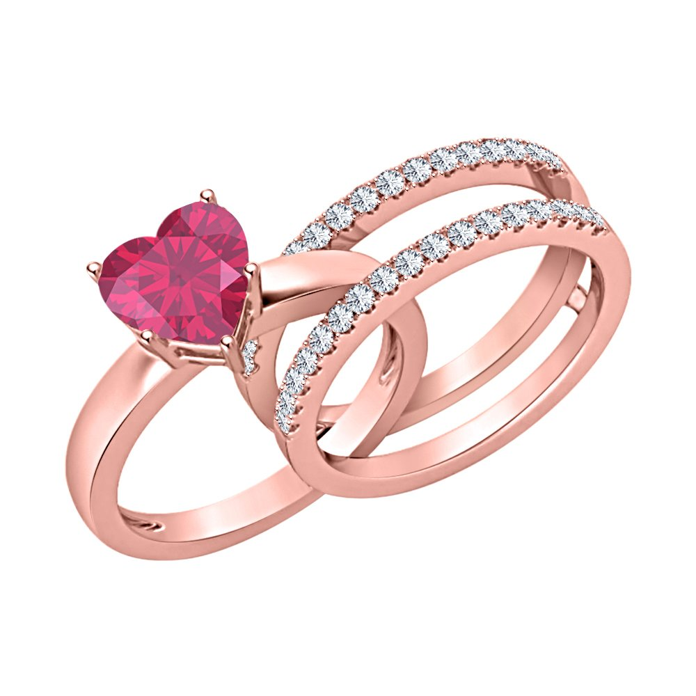 Lovely 2.80 ct.tw Heart Shaped Created Ruby & White CZ Diamond 14K Rose Gold Plated Enhancer Wedding Ring Set