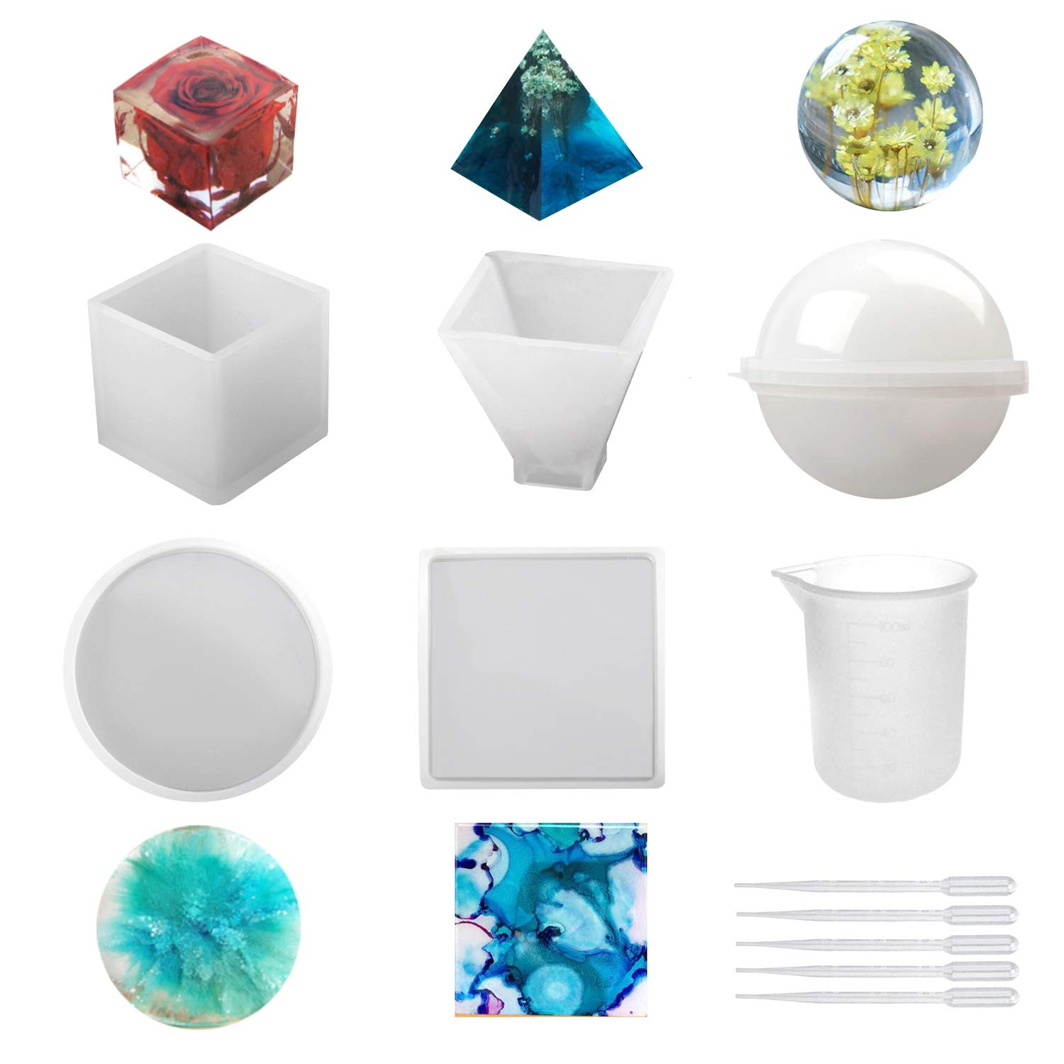 Cube Square Silicone Resin Molds 5Pcs Resin Casting Molds Including Sphere Soap Pyramid Candle Wax Bowl Mat etc Round with 1 Measuring Cup /& 5 Plastic Transfer Pipettes for Resin Epoxy