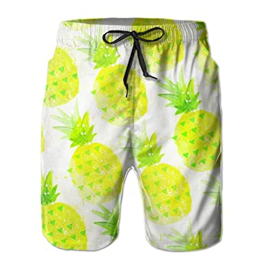 0d2113ace8 Image Unavailable. Image not available for. Color: LWI DIW Pineapple Print  Men's Fashion Quick Dry Beach Shorts Pants Swim ...