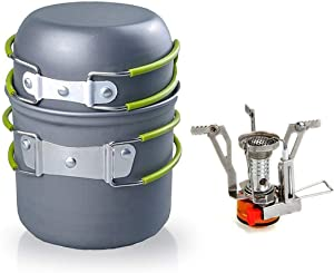 RioRand Outdoor Camping Cookware Backpacking Bowl Pot+ Mini Canister Stove Burner Foldable (2 Pieces Set)