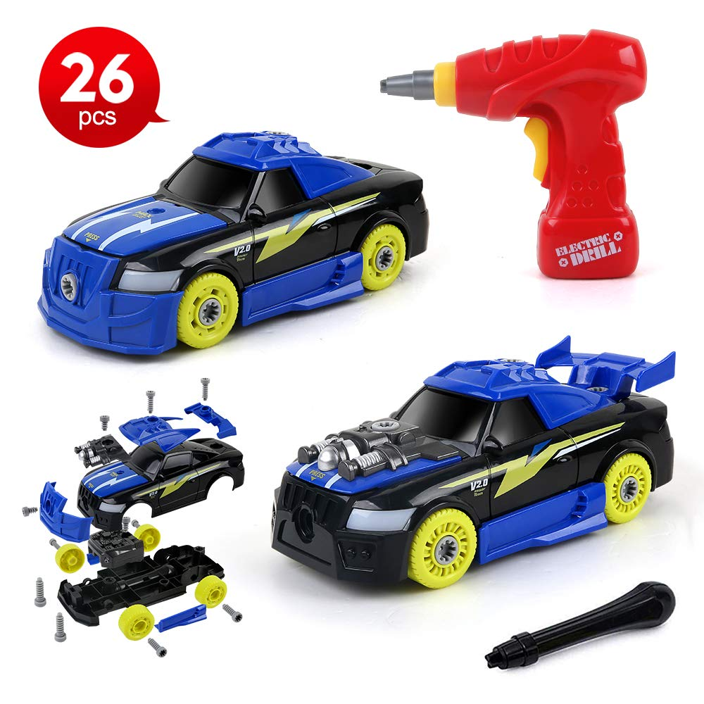 2-in-1 Take Apart Racing Car, DIY Toys 26 Pieces Stem Learning Assembly Car Toys with Electric Drill Tool, Lights and Sounds for Kids Boys Girls