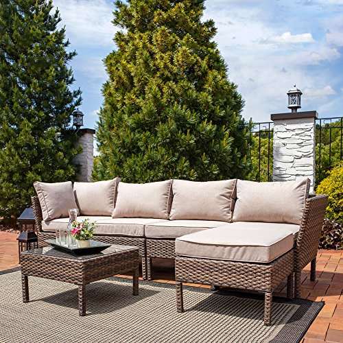 Weather Wicker Armless Sectional - Sunnydaze Belgrano 6-Piece Outdoor Wicker Rattan Sofa Sectional Patio Furniture Set