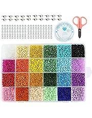 Miystn Pastel Kralen, Glas Rocailles, Vriendschap Armband Maken Kit, Mini Handgemaakte Kralen Zaad Kraal Set Mini 24-Grid DIY Ambachtelijke Kraal voor Sieraden Maken DIY Crafting (3 mm)