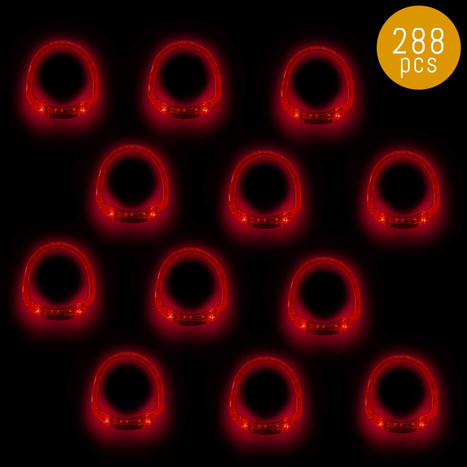 Lumistick LED Bracelet | Light Up Flashing Rivet Punk Silicone Blinking Wrist Bands Night Festival Parties Favors Glowing Toys Supplies (Red, 288 Bracelets)