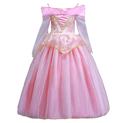 ELSA & ANNA® Princesa Disfraz Traje Parte Las Niñas Vestido Sleeping Beauty Vestido Aurora Vestido (Girls Princess Fancy Dress) ES-SLP01 (5-6 Años, ...