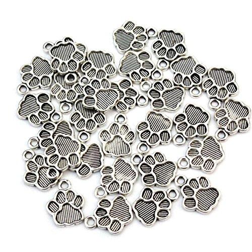 30Pcs Pet Dog Puppy Paw Print Metal Footprint animal Pendant Charm Necklace Bracelet Antique silver