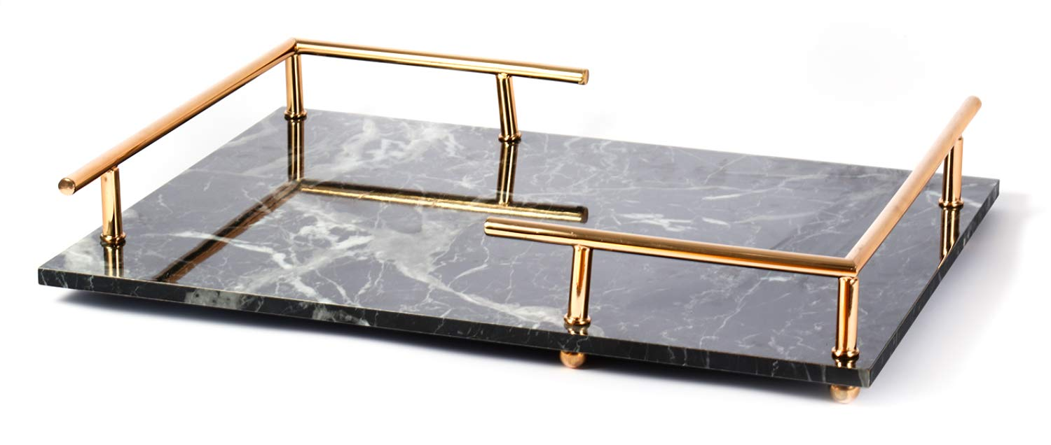 PuTwo Decorative Tray Marbling Tray Jewelry Tray with Gold Metal Handle Copper Trinket Tray Handmade Catchall Tray for Dresser Bathroom Vanity Table Gift for Birthday Christmas - Black by PuTwo