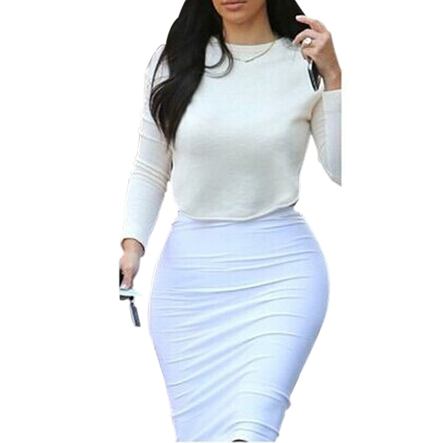 New Lady Long Sleeve White Crop Tops Bodycon Slim Skirts Cocktial Party 2Pcs Set
