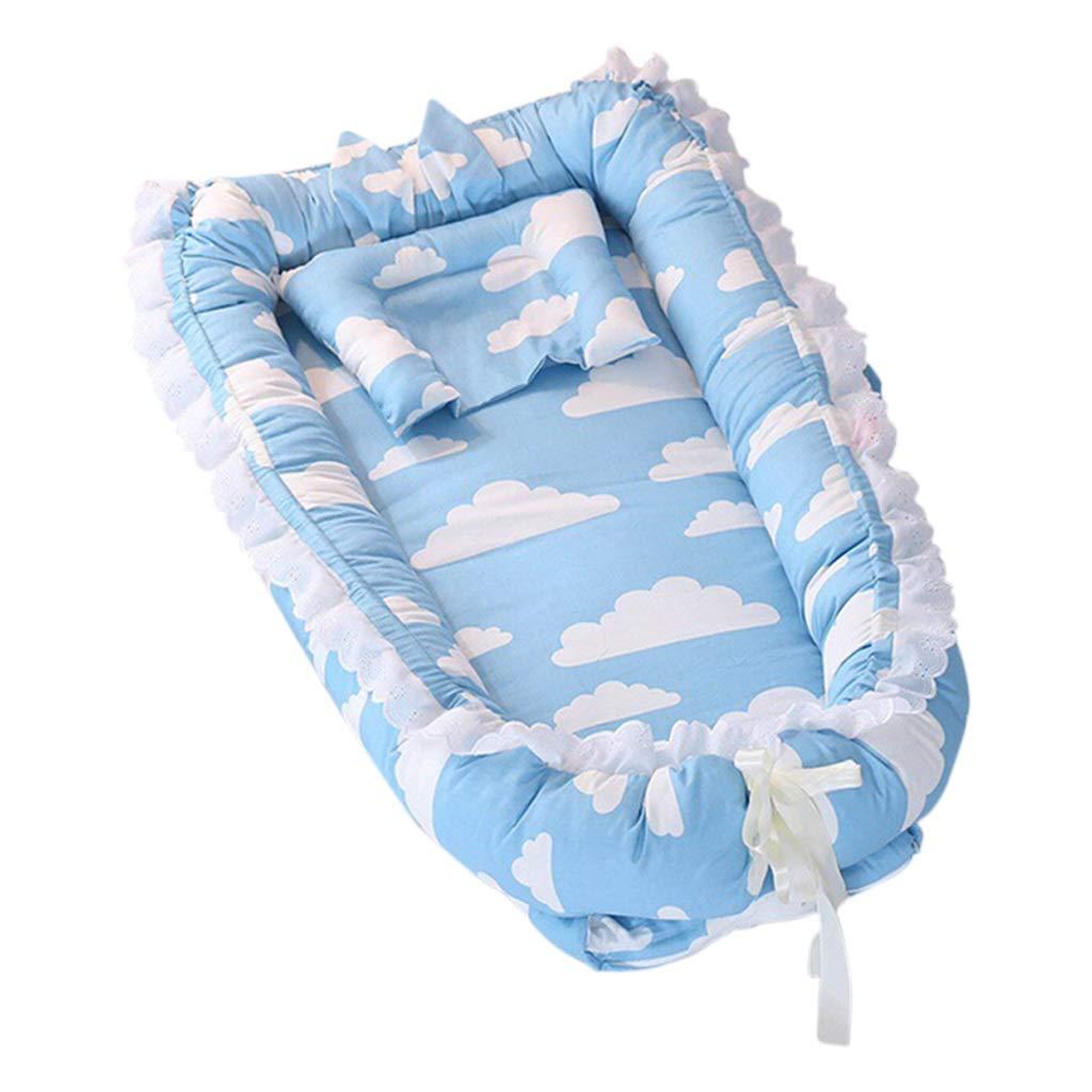 HUYP Baby Sleep Pod Large Crawling Mat Baby Mattress Multi-Function Folding Newborn Bionic Bed Anti-Pressure 0-2 Years Old Baby Sleep Travel Pod (Color : Blue C)