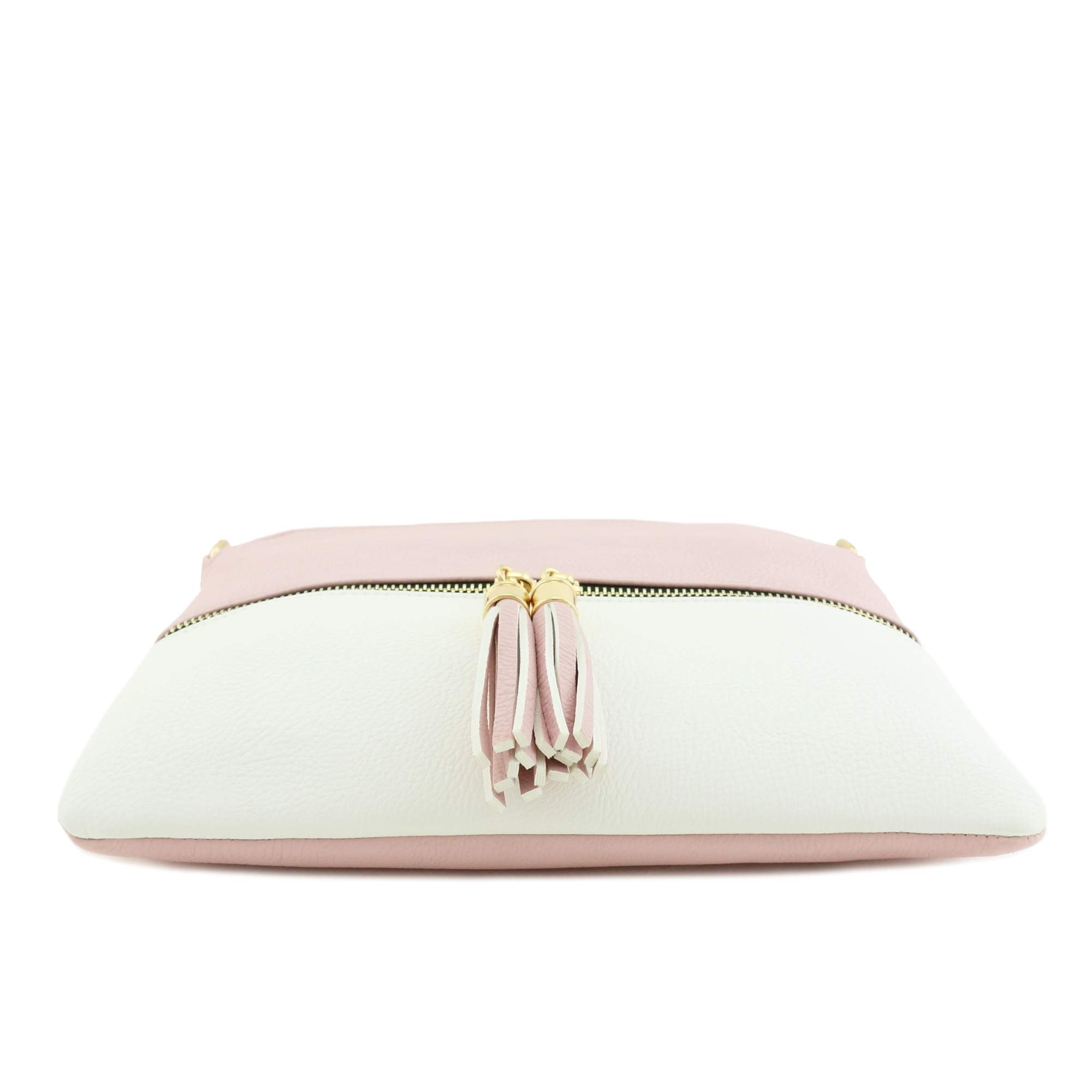 Lightweight Colorblock Medium Crossbody Bag with Tassel (Blush/White) by DELUXITY (Image #4)