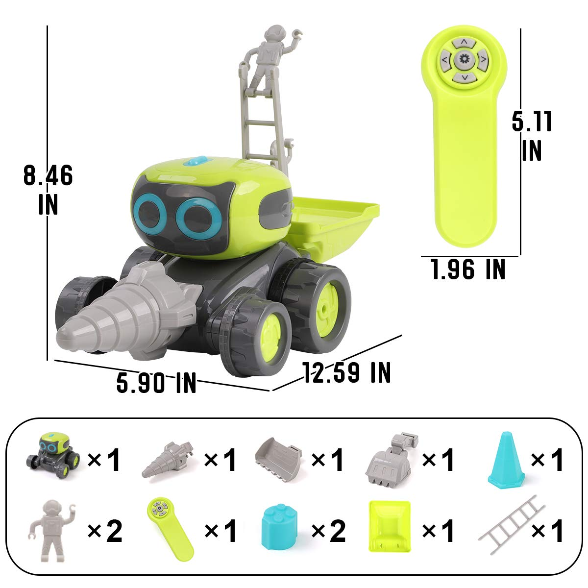 GILOBABY Remote Control Robot for Kids, 3 in 1 RC Robot Engineering Vehicle, Dance Moves, Plays Music, Light-up Eyes, Gift for Kids Age 3+ by GILOBABY (Image #7)