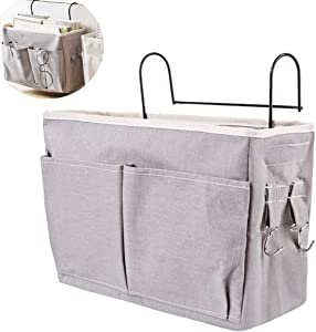 RuiyiF Bedside Organizer Hanging with Metal Hooks, Bunk Bed Storage for Top Bunk Dormitory Bedside Storage for Books Phones Remote Control (Grey)