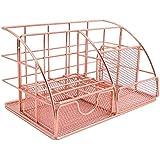 Chnrong Organizador de mesa, acessório de mesa de material de escritório de malha ouro rosa, com compartimentos e mini gaveta