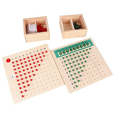 Danni Montessori Baby Early Wood Math Teaching Aids Multiplication & Division Math Educational Toys Beads Board Red Green Learning: Toys & Games