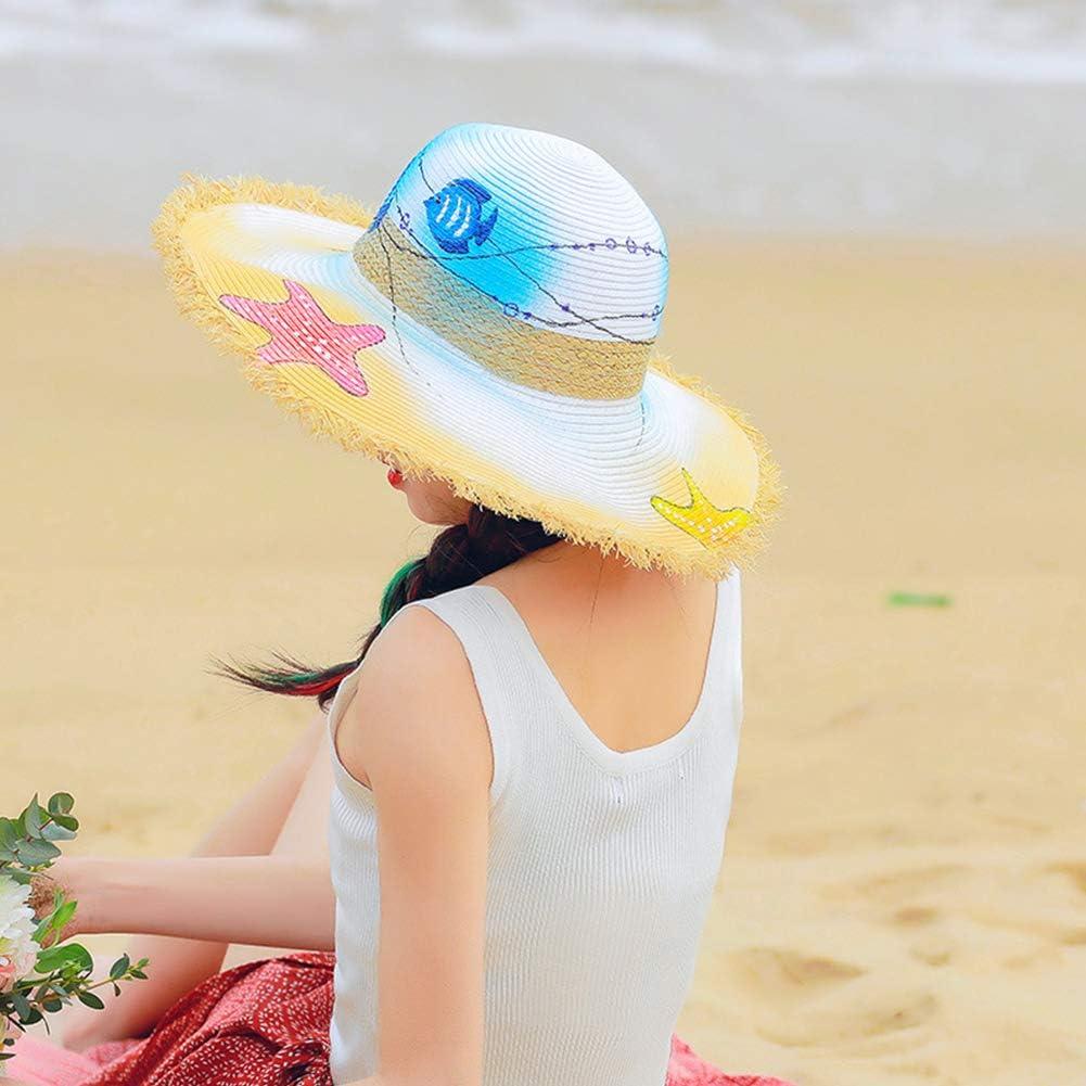 Aoile Summer Beach Sun Hat Women Hand Painted Graffiti Straw Hat Foldable Wide Brim Sky Blue