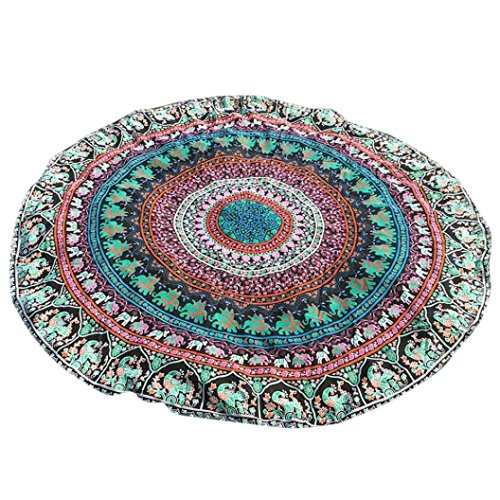 YJYdada Round Bohemian Hippie Tapestry Beach Picnic Throw Yoga Mat Towel Blanket (Orange)