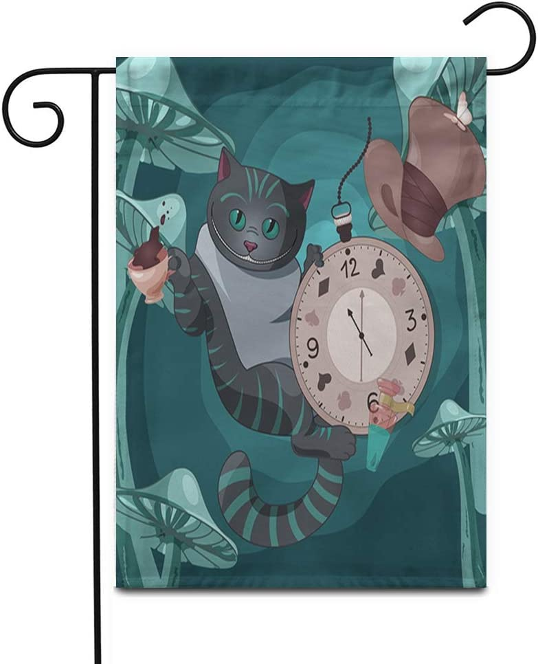 "Awowee 12""x18"" Garden Flag Cheshire Cat on Wonderland Cap Tea Pocket Watch Outdoor Home Decor Double Sided Yard Flags Banner for Patio Lawn"