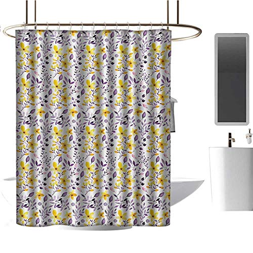 TimBeve Colorful Shower Curtain Watercolor,Yellow Wildflowers Artistic Spring Garden Botanical Foliage with Herbs,Yellow Purple White,Durable Waterproof Fabric Bathroom Curtain 72
