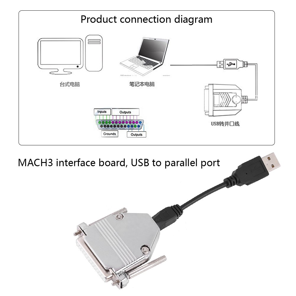 USB to Parallel Printer Cable Adapter Male to Female Connector Converter, Keenso 1 PC 10cm USB Cable + 25 Pin USB to Parallel Adapter Converter CNC Controller for Mach3 by Keenso (Image #3)