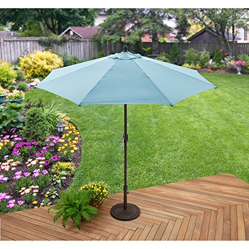 Better Homes and Gardens 9' Market Umbrella, Aqua, 3-way Adjustable Tilt with 8 Ribs, Fade Resistant Olefin Canopy, Rust Proof Aluminium Frame
