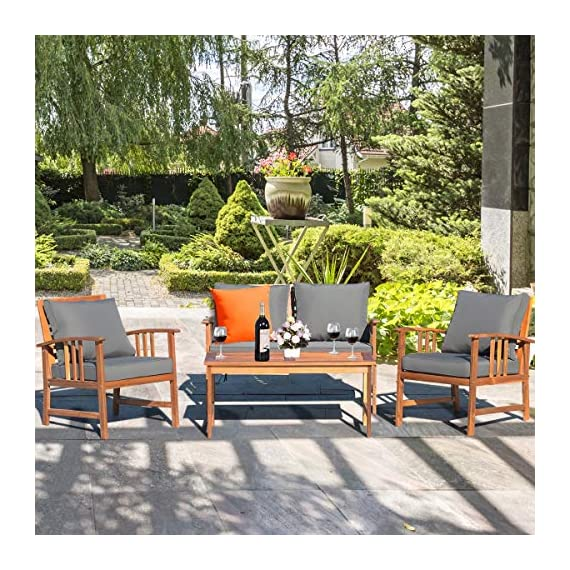 Tangkula 4 PCS Wood Patio Furniture Set, Outdoor Seating Chat Set with Gray Cushions & Back Pillow, Outdoor Conversation Set with Coffee Table, Ideal for Garden, Backyard, Poolside (Wood) - ☀️ Sturdy & Durable Frame☀️ : The frame of set is made of premium acacia wood which ensures the sturdiness and durability. And the set is not easy to deform and crack so that the set will provide long time service. With no peculiar smell and clear varnish on the wood, the frame is waterproof and the beauty can be kept for long time. ☀️ Ergonomic Design of Sofa ☀️ : Designed with slightly sloping backrest and curved handrails, the single chair and loveseat is very comfortable for relaxing yourself. With thick and soft cushions, it will also add comfort. And the seat cushions can be fixed on the slat of chair with strings. You don't need to worry about moving of cushion. ☀️ Multipurpose 4-piece Furniture☀️ : Our furniture set which includes 4 pieces can be combined in various ways or be used separately according to your different needs. You can enjoy good time with your family to drink, eat or chat. The set is ideal for your garden, patio, balcony, poolside and backyard to be a perfect décor. - patio-furniture, patio, conversation-sets - 61rdsW1eSfL. SS570  -