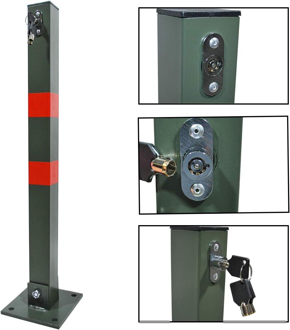 HELO Parkplatzsperre Absperrpfosten Parkpfosten Sperre klappbar Pfosten Parksicherung Signal-Aufkleber inkl 3 Schl/üssel