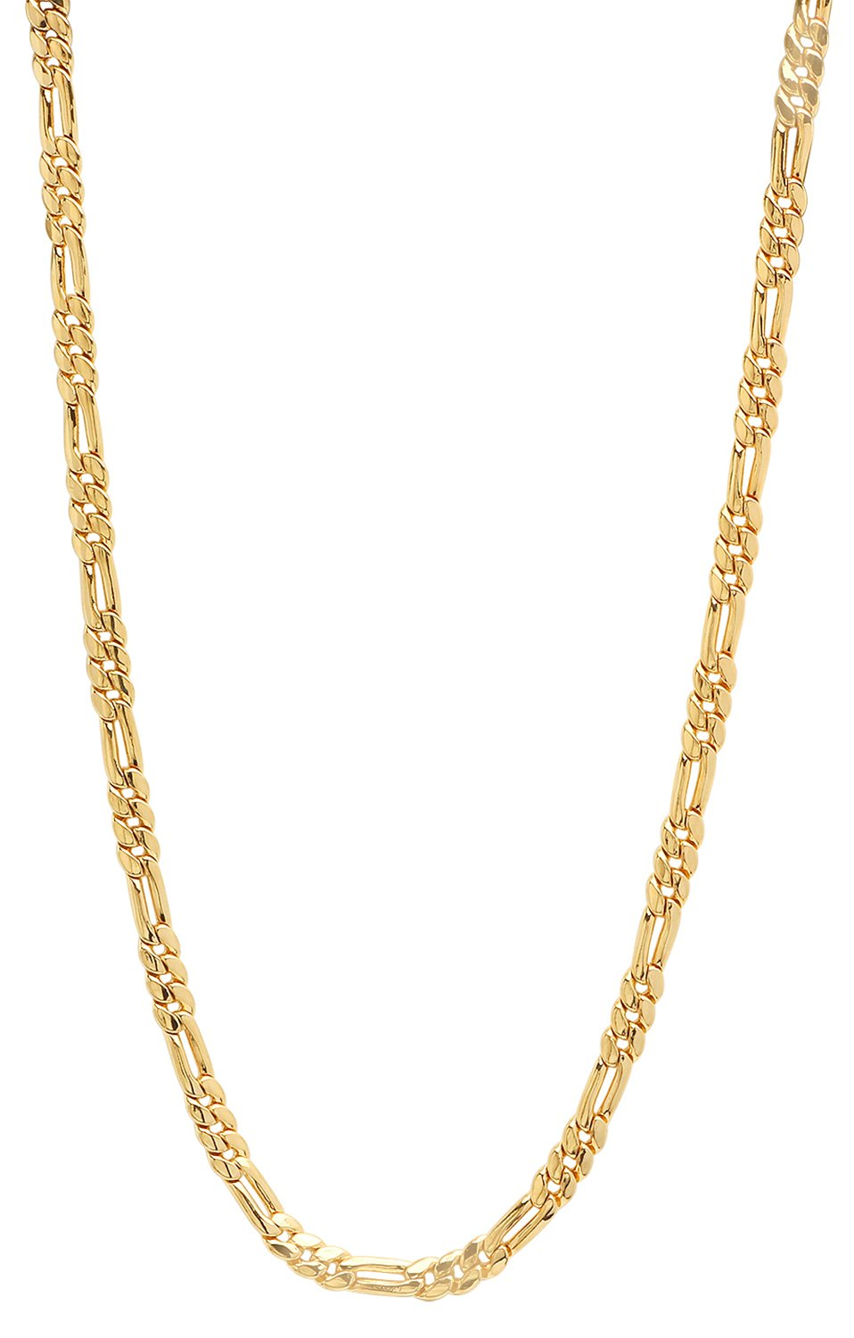 The Bling Factory 4.1mm 25 Mills 14k Gold Plated Figaro Link Chain Necklace, 16 inches